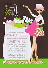 chic mom baby shower invitation