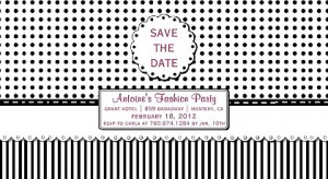 save the date black white invitation
