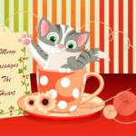 encouragement card cat in teacup