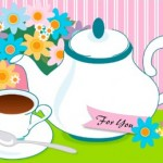 teapot teacup flowers thinking of you card