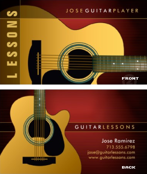 guitar lessons music business card vizons design