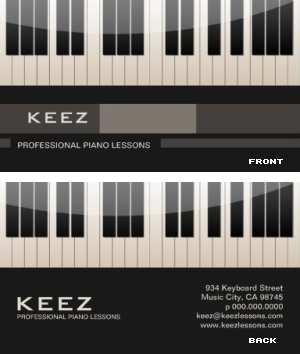 Piano Teacher Business Card Vizons Design