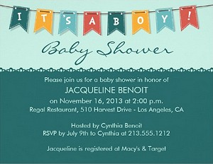 Flags Its A Boy Baby Shower Invite Vizons Design