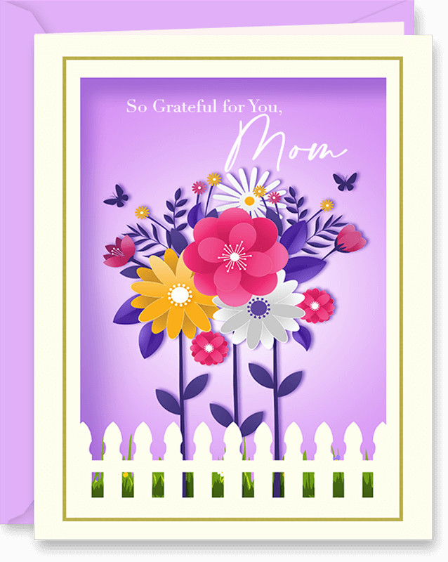 3D Paper Art Flowers Mother's Day Card