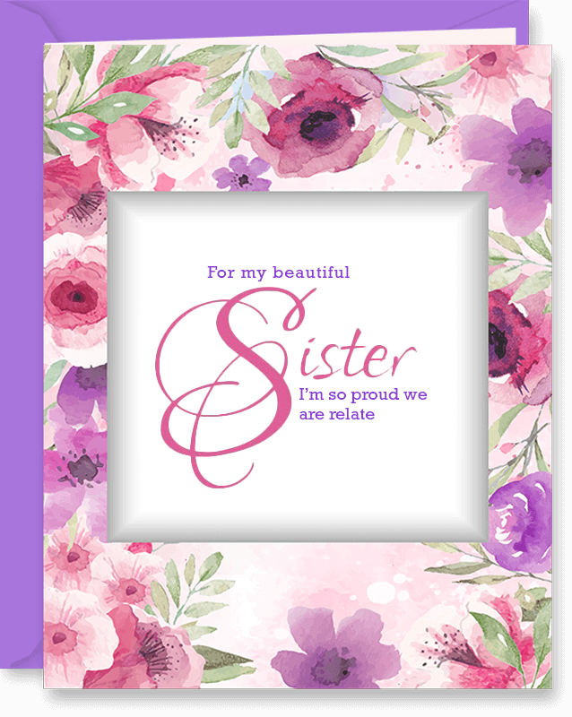 To Sister From Sis Floral Frame Mother's Day Card