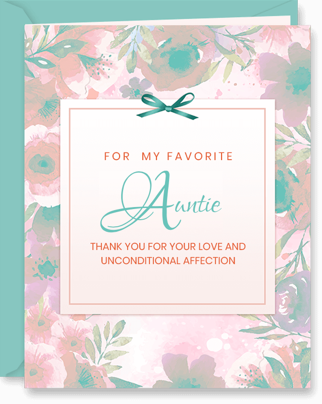 For My Favorite Auntie Mother's Day Card