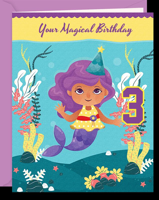 Mermaid Magical 3rd Birthday Card For Girl
