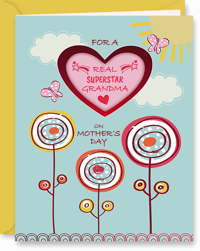 Cute Mother's Day Card For Grandma by Vizons Design