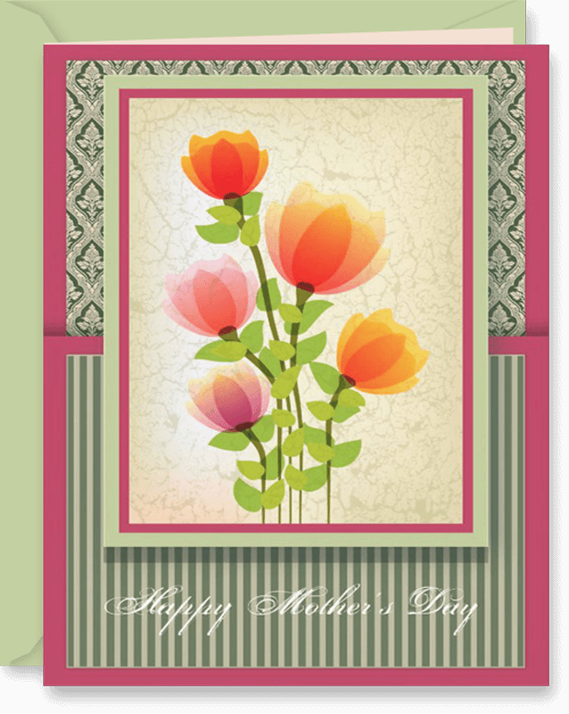 Beautiful Mother's Day Greeting Card with Damask