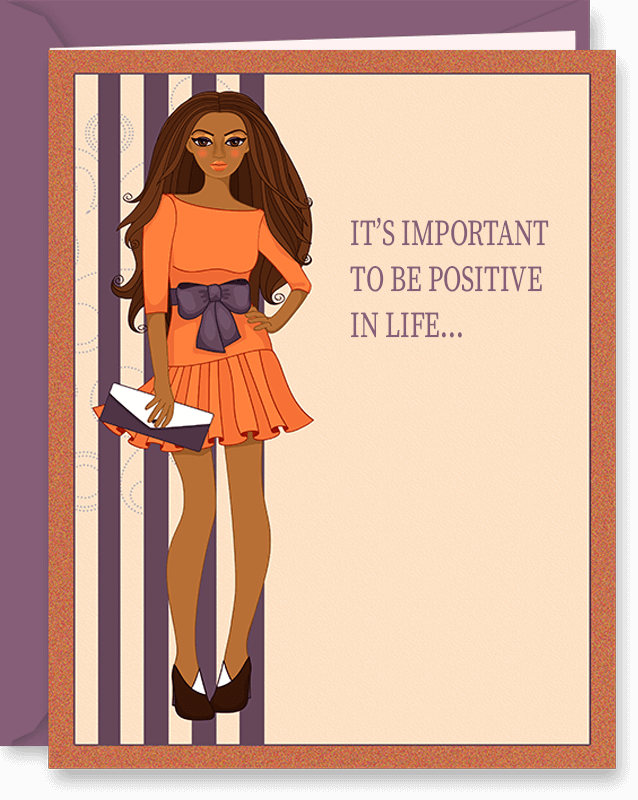 Be Positive Cute Birthday Card For Friend (Women)