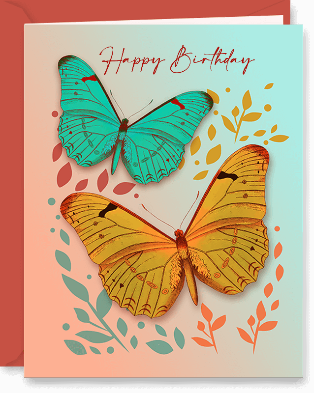Happy Birthday Card Butterflies For Friend