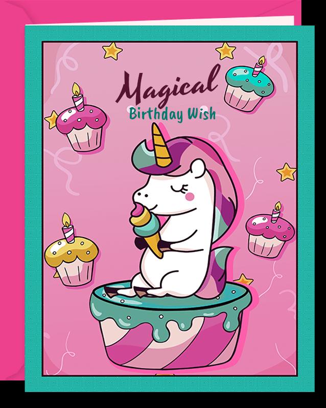 Magical Wish Unicorn Birthday Card For Girls