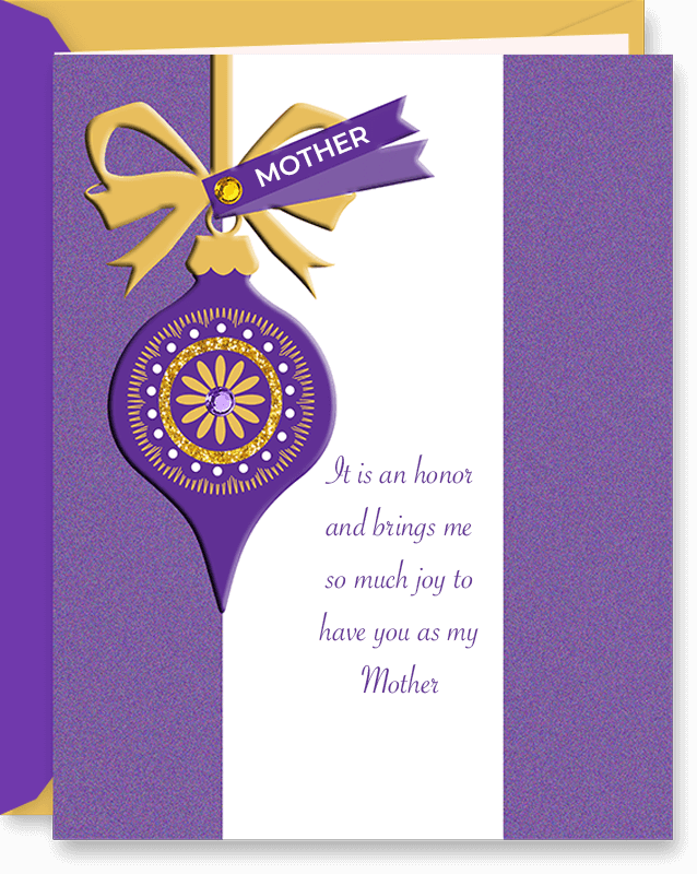 Gemstones & Ornament Christmas Card For Mother