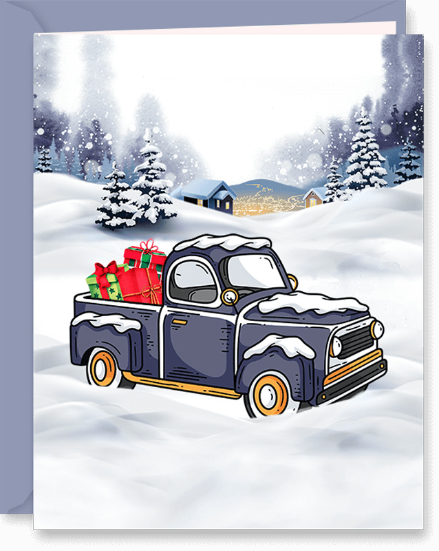 Pickup Truck with Gift Boxes Snowy Christmas Greeting Card