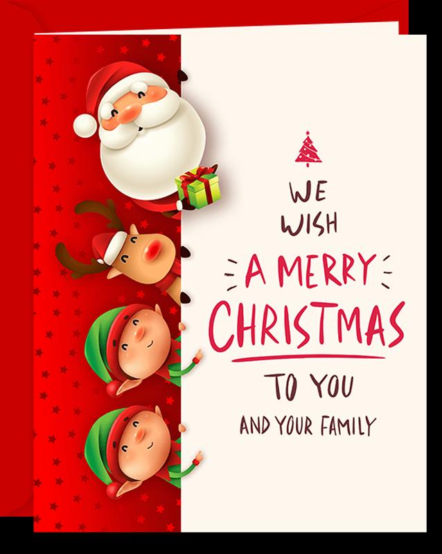 Santa, Rudolph & Elves Christmas Greeting Card