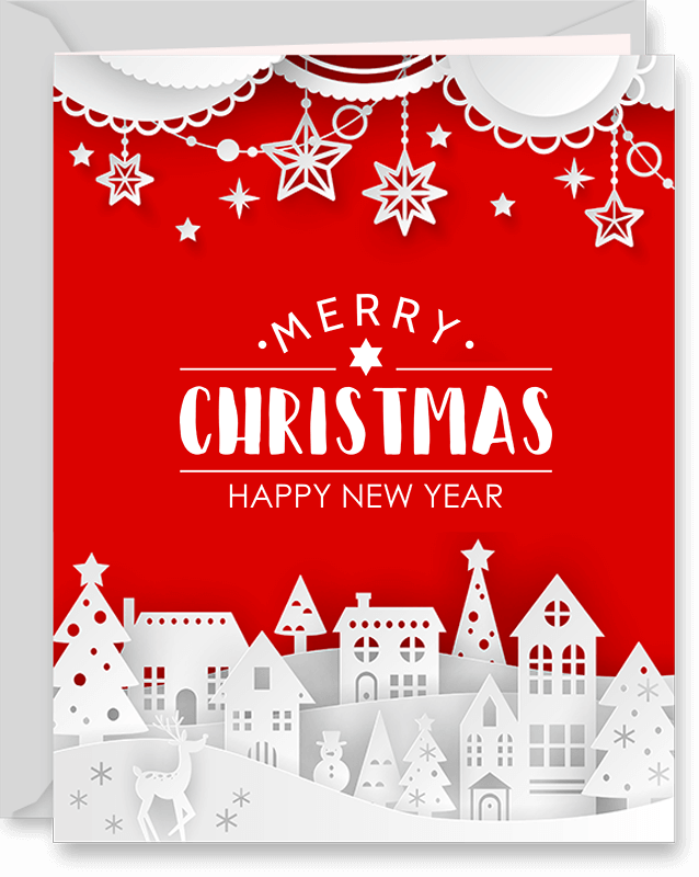 Winter Town Christmas Greeting Card (v1)