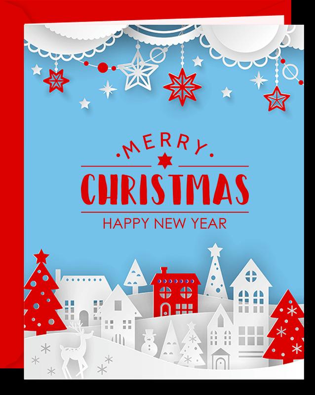 Winter Town Christmas Greeting Card (v2)