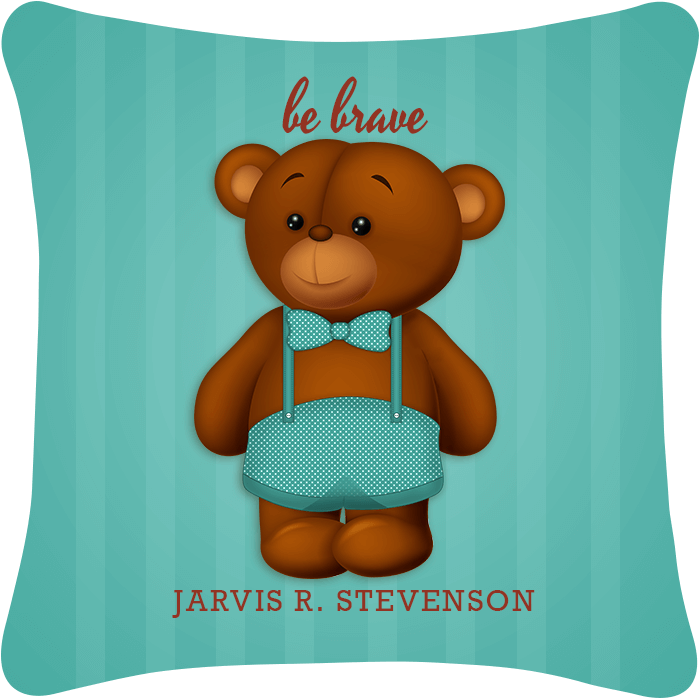Be Brave Boy Teddy Bear Throw Pillow