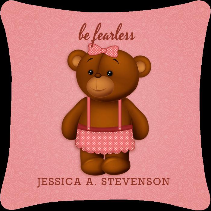 Be Fearless Girl Teddy Bear Throw Pillow