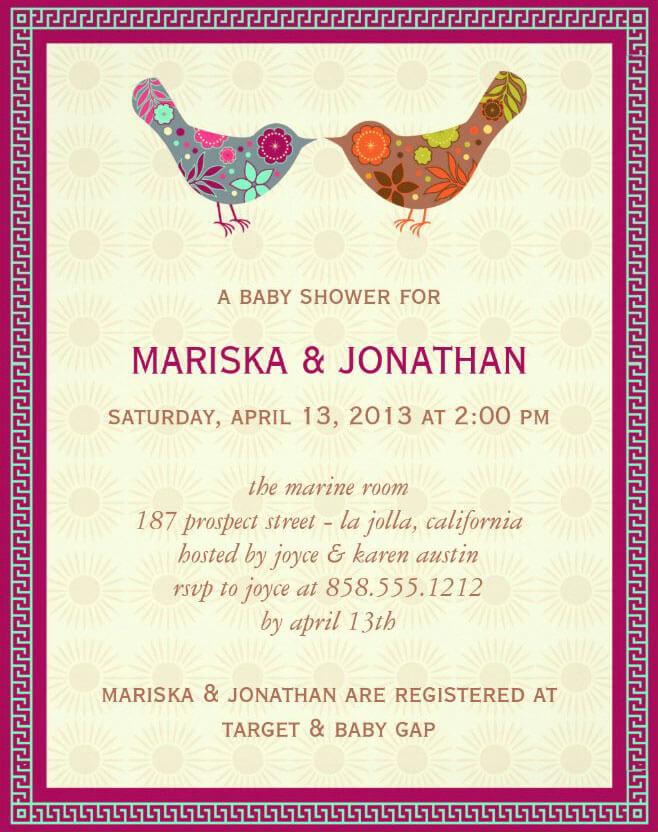 Birds Couples Baby Shower Invitation