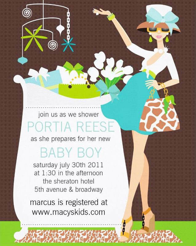 Chic Mom Crib Boy Baby Shower Invitation