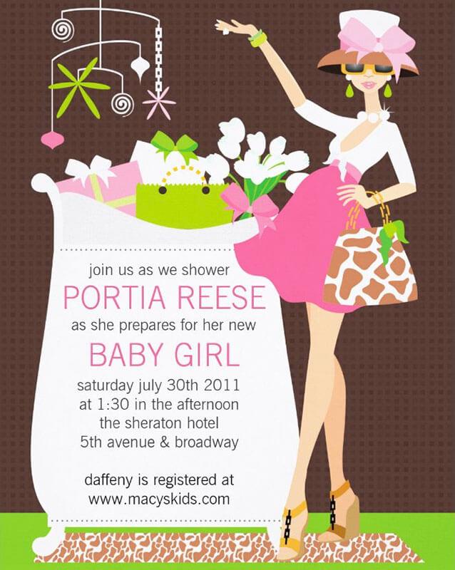 Chic Mom Girl Baby Shower Invitation