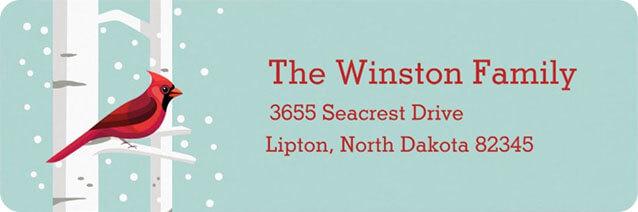 Christmas Cardinal Return Address Label
