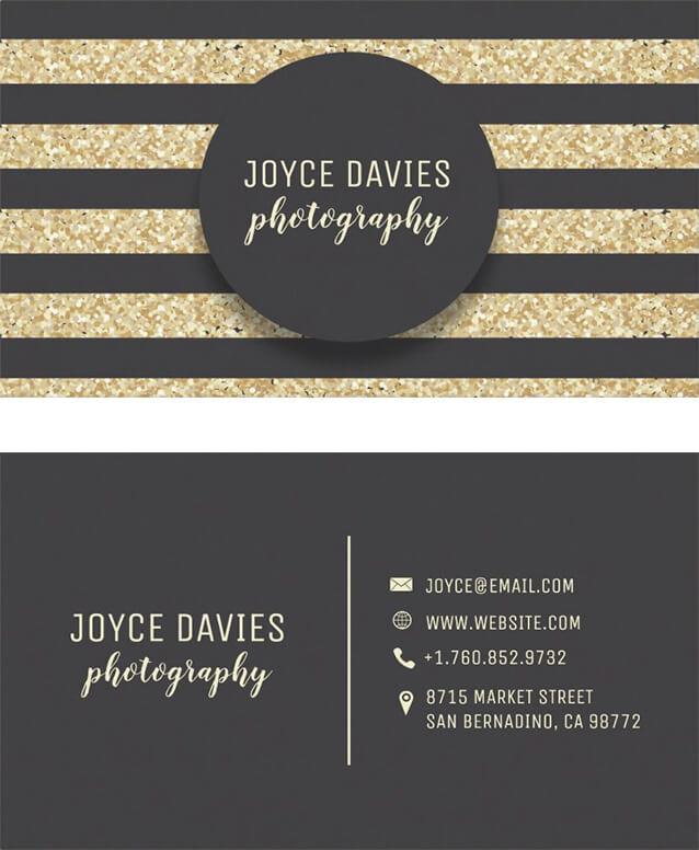 Elegant Gold Glitter Black Stripes Business Card