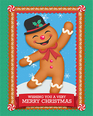 Personalized Gifts - Gingerbread Man Christmas Greeting Card