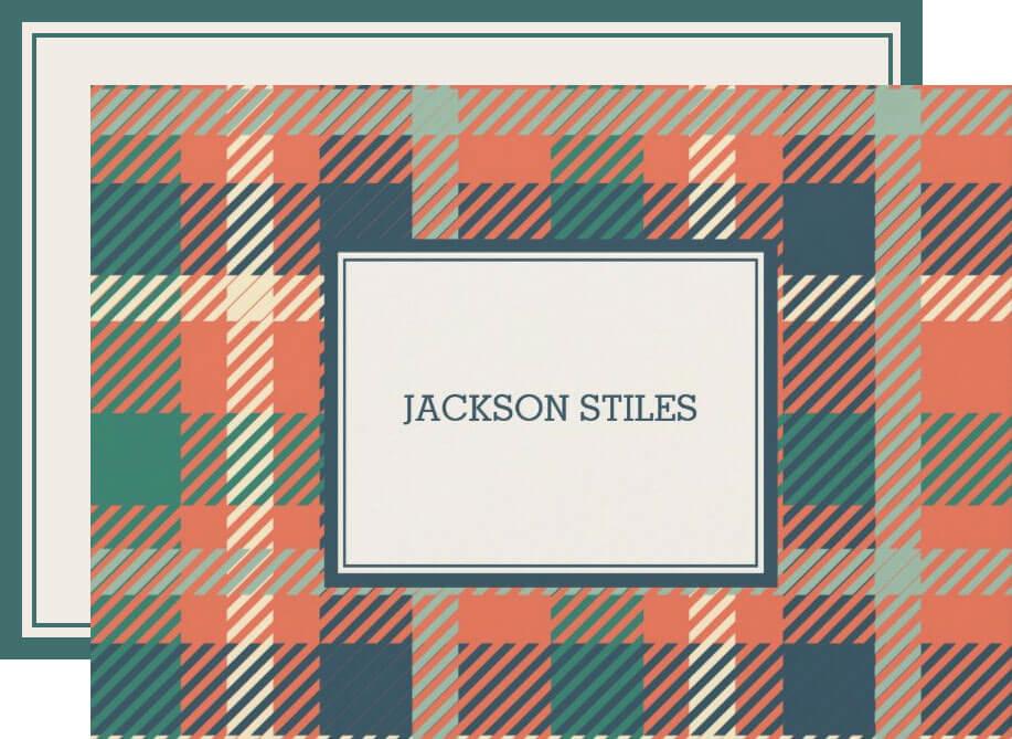 Green & Burnt Orange Tartan Flat Note Cards
