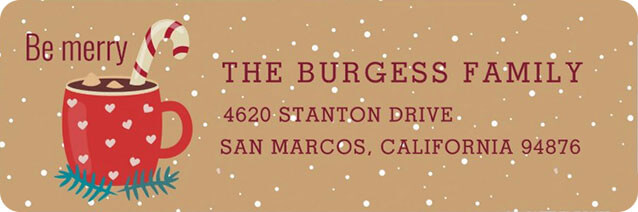 Hot Chocolate Mug Christmas Return Address Label