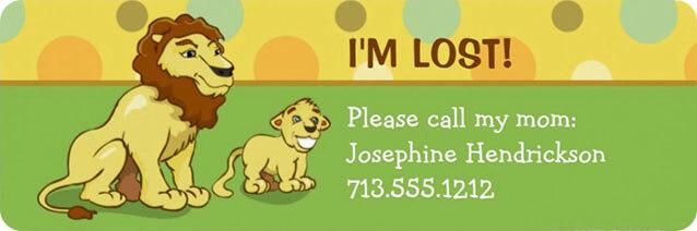 Lions Kids Address Labels