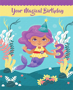 Personalized Gifts - Mermaid Magical 3rd Birthday Card For Girl