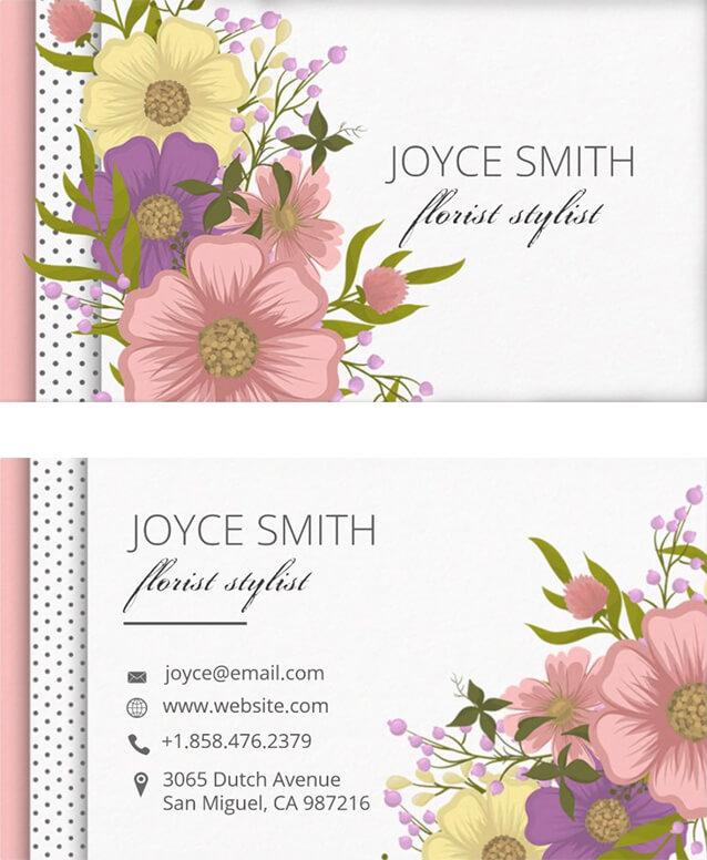 Multi Color Luscious Floral Business Card