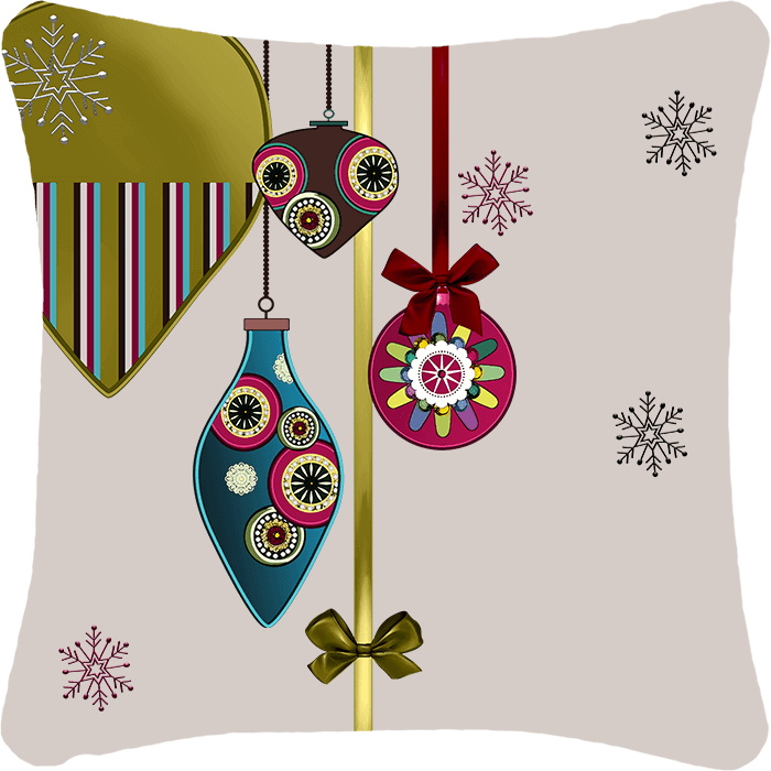 Ornaments & Gemstones Holiday Throw Pillow