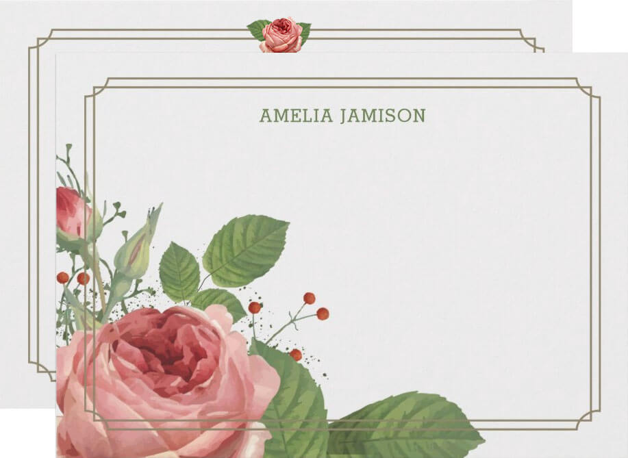 Rose Bloom Personalized Flat Note Cards