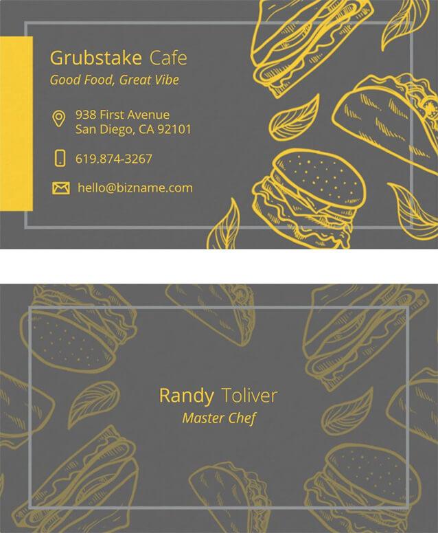 Tacos & Sandwiches Restaurant Business Card