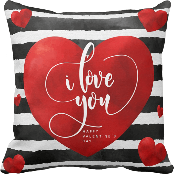 Hearts & Stripes Valentine's Day Throw Pillow
