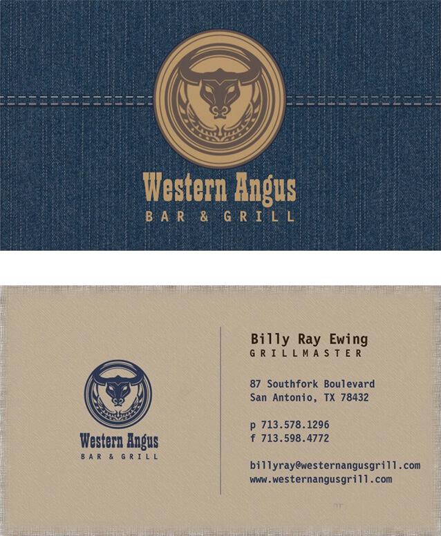 Western Angus Bar & Grill Restaurant Business Card