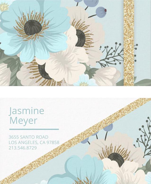 Blue Florals Business Card