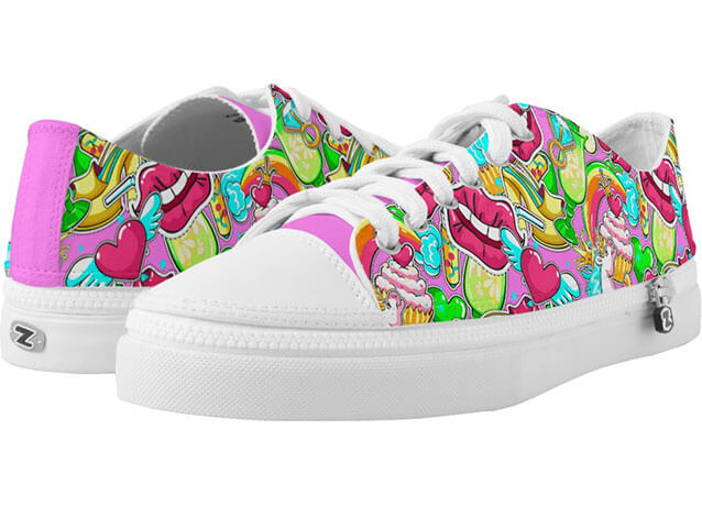 Comic Patches Fashion Women's Low-Top Sneakers