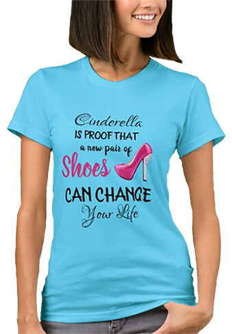 Funny Women's T-Shirts Cinderella Shoes