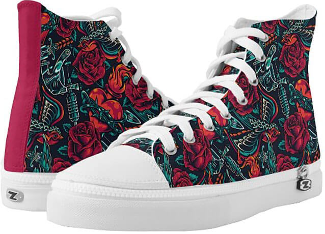 Tattoo Patterned Women's High-Top Sneakers